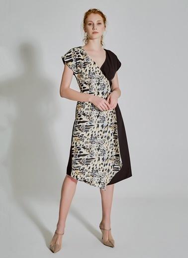 People By Fabrika Kruvaze Desenli Elbise Siyah